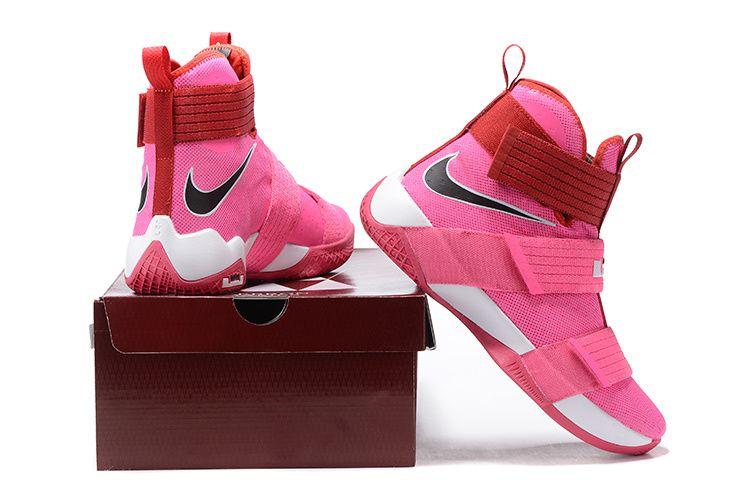 2017 April New Arrival Nike LeBron Soldier 10 X Kay Yow Think Pink Storm  Pink Vivid · Nike BasketballBasketball SneakersBoys ... 638b491ff6