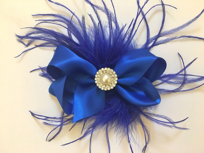 Peacock Blue Hair Bow Flower Girl Newborn Baby Child Girls Wedding Ruffled Jade Blue Satin Bow with Pearls Headband or Hair Clip