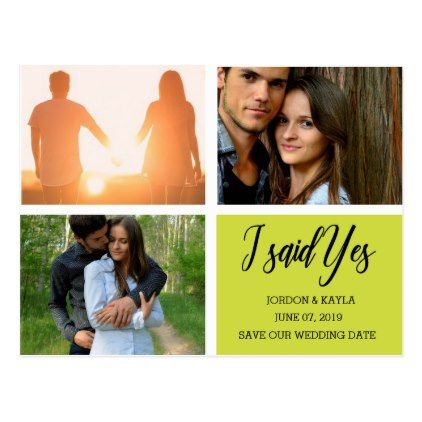 I said Yes Modern Save the Date Photo Collage Postcard - script