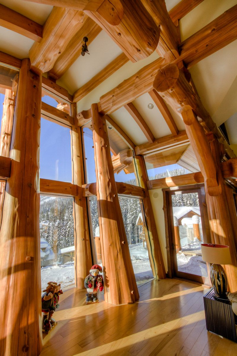 Cedar Post And Beam Curved Timber Roof. Glass Forest