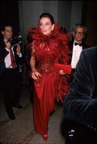 Beauty in a red dress Audrey Hepburn on the go in 1989