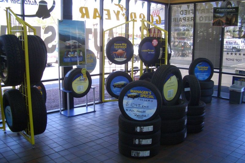 Photo Tire display front of store Display, Auto service