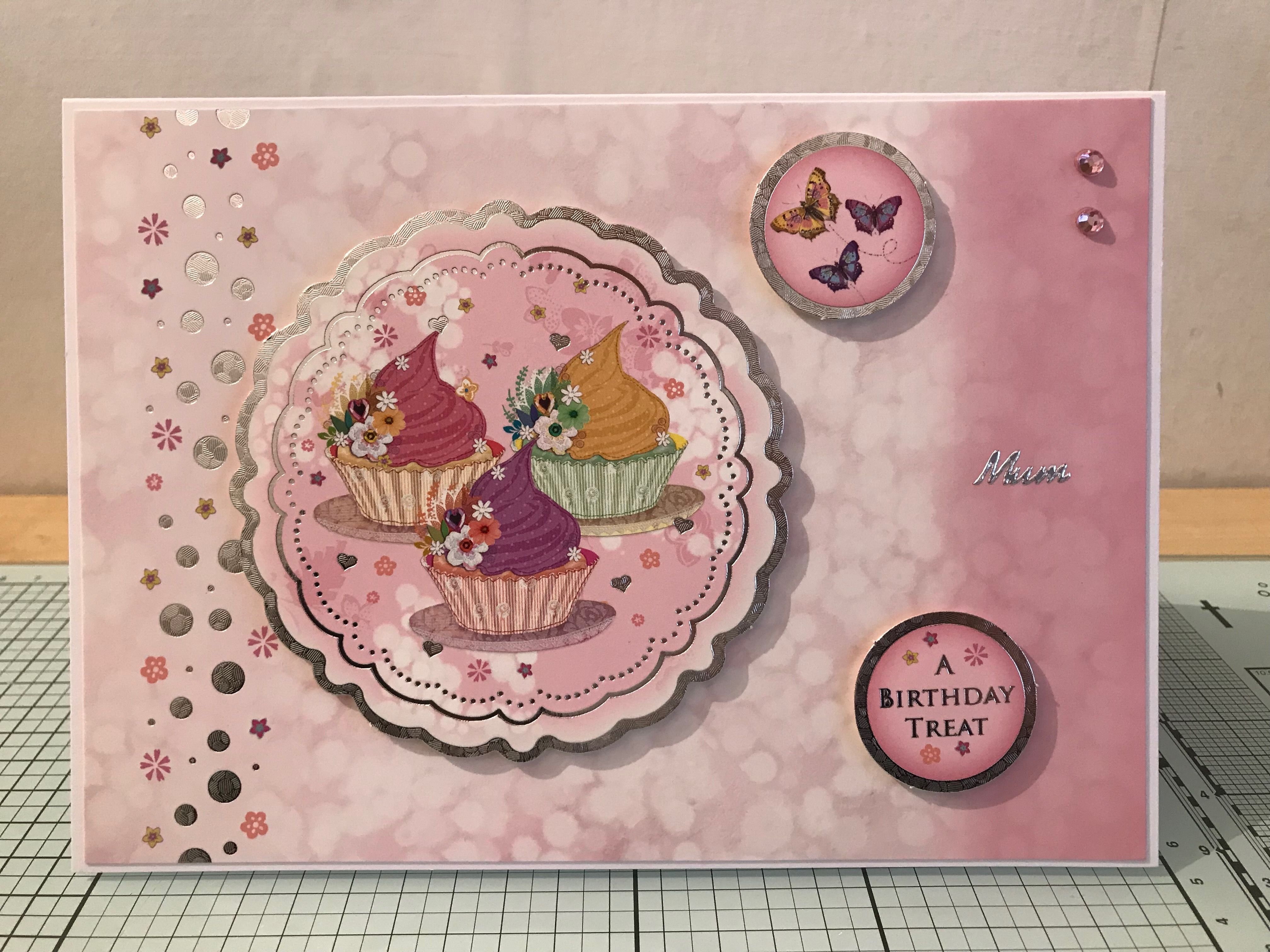 birthday card using hunkydory a touch of class card kit