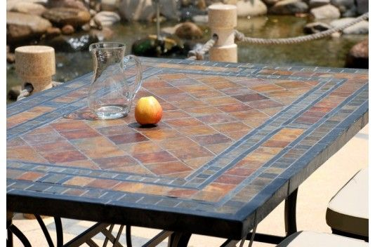 Table mosaique de jardin en pierre ardoise erable living for Table jardin en pierre