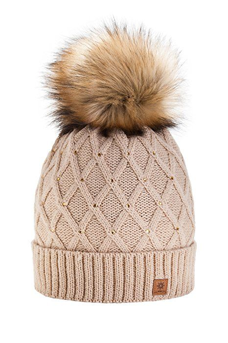 8c79cd2cc Women Girls Winter Beanie Hat Wool Knitted CRYSTAL with Large Fur ...