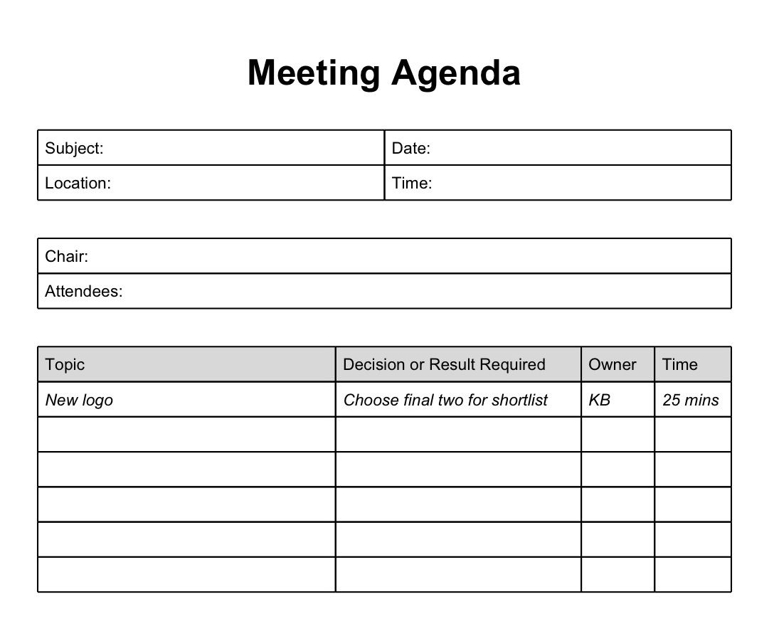meeting agendas templates – Team Meeting Agenda Sample