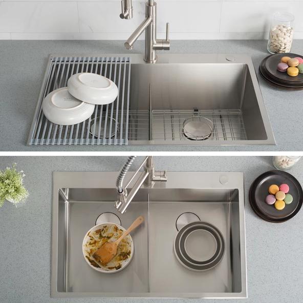 Kraus 33 X 22 Inch Standart Pro Drop In Topmount 16 Gauge Double Bowl 2 Hole Stainless Steel Kitchen Sink Stainless Steel Kitchen Sink Steel Kitchen Sink Stainless Steel Kitchen