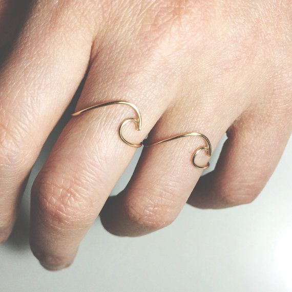 Wave Ring Set of 2 gold filledsterling silverbeach ringgold spray