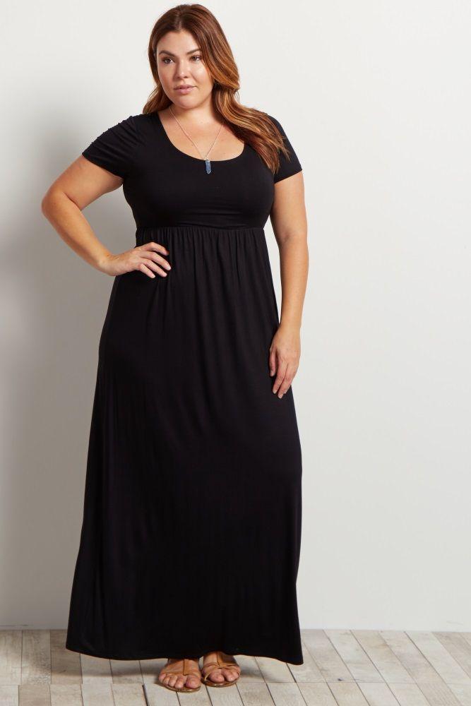 black basic short sleeve plus maxi dress | basic shorts, maxi