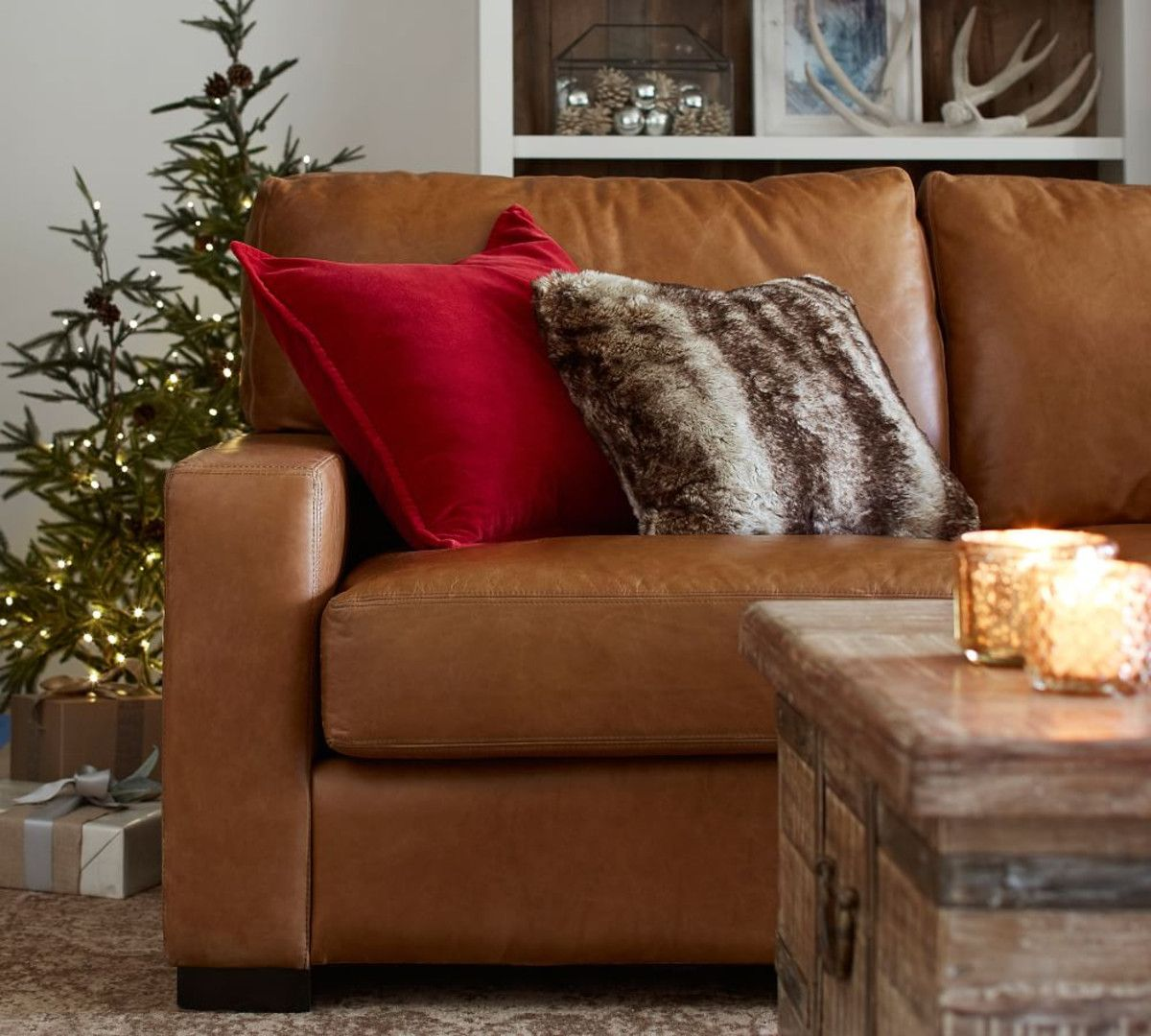 Washed Velvet Cushion Cover Leather sofa, Leather chaise