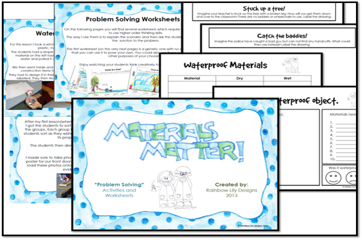Teach young students that properties of materials do matter! 18 pgs ...