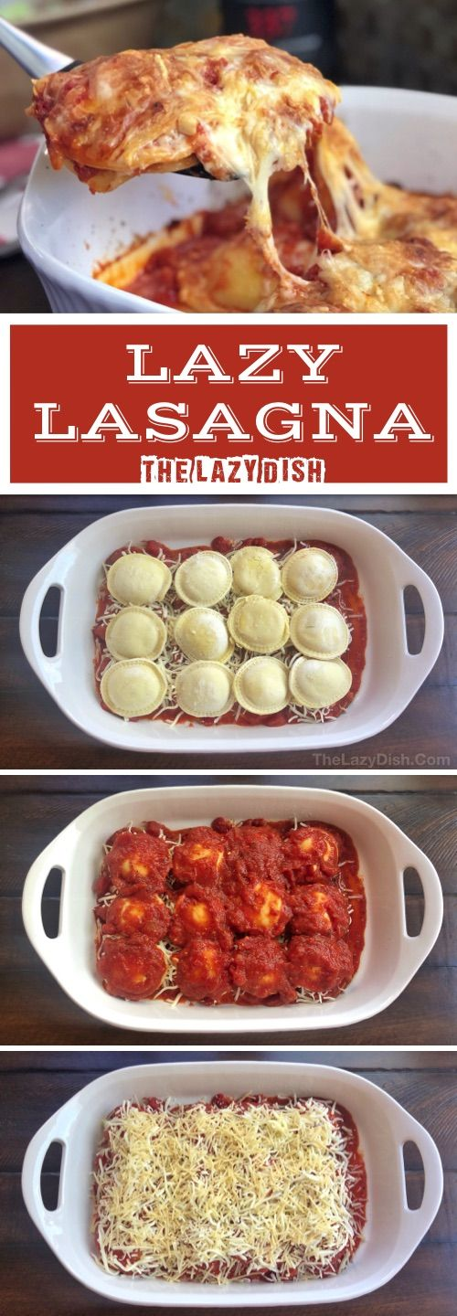 3 Ingredient Baked Ravioli (A.K.A. Lazy Lasagna) – Looking for quick and easy di…