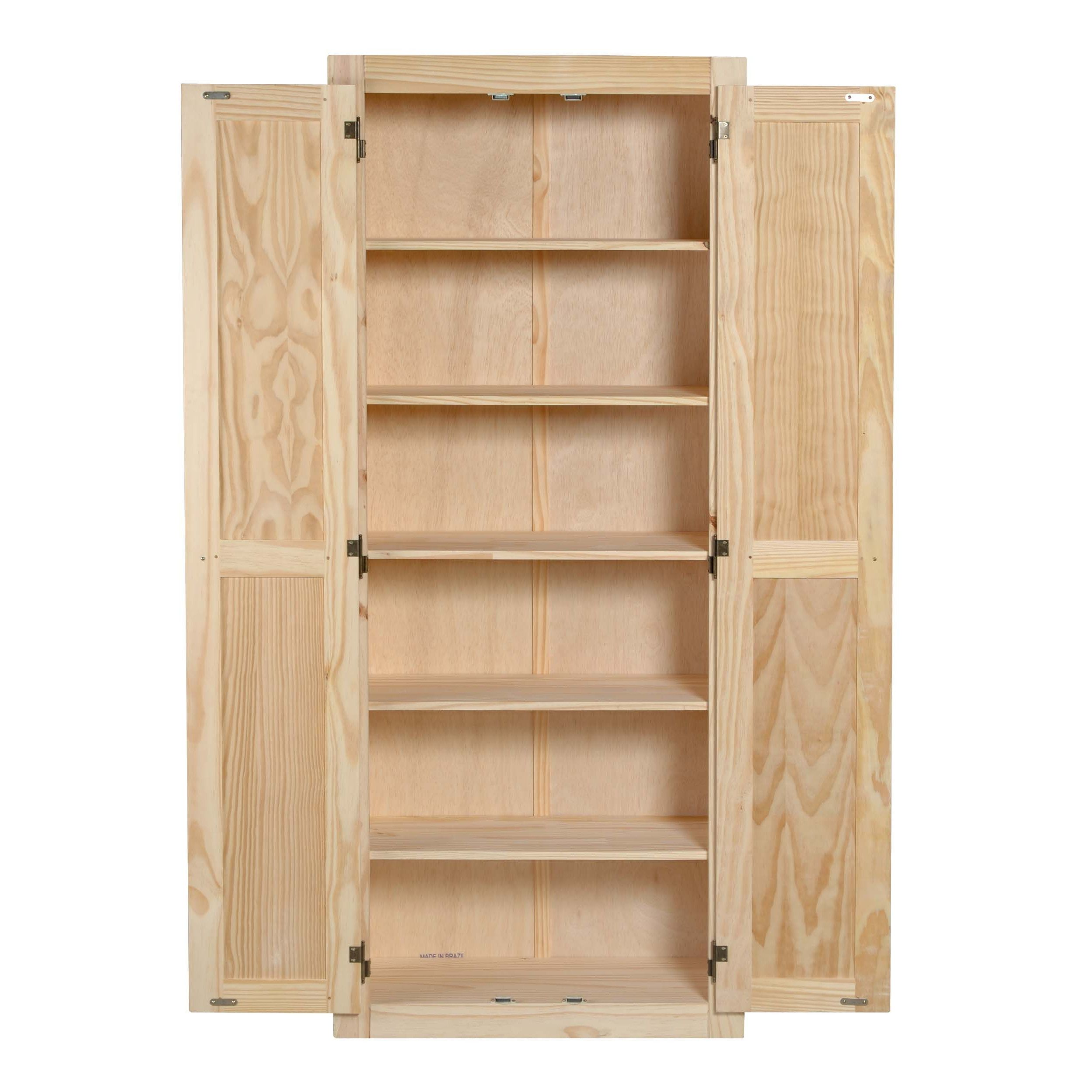 Features Unfinished. 6 Shelves (three fixed and three