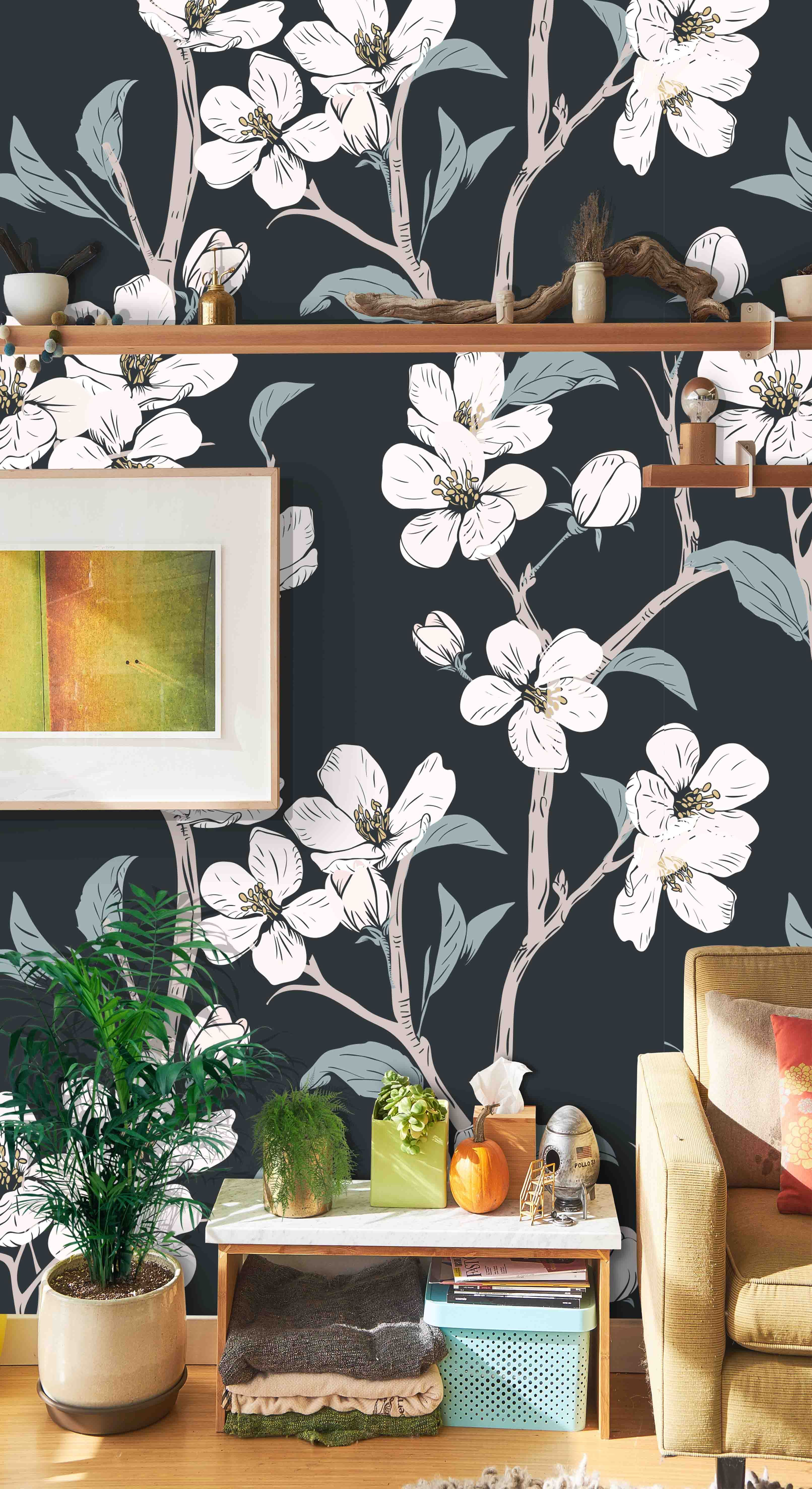 Removable Self Adhesive Mural Wallpaper White Flowers On Etsy Vinyl Wallpaper Mural Wallpaper Wallpaper