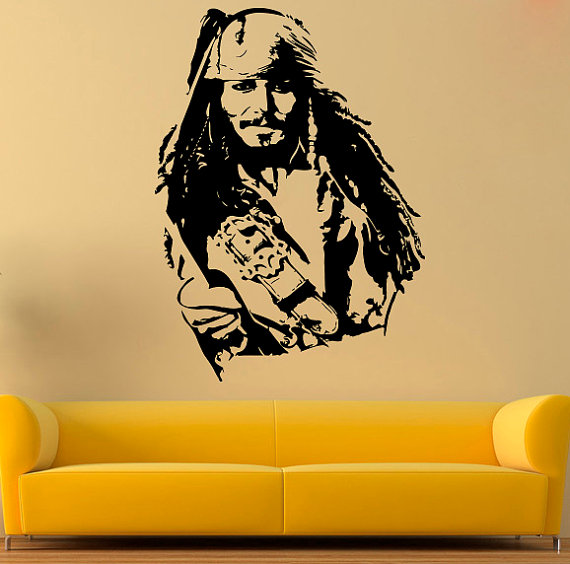 Jack Sparrow Wall Decal Jack Sparrow Vinyl Sticker by AndreadecalS.   $23.99. MORE COLORS AVAL