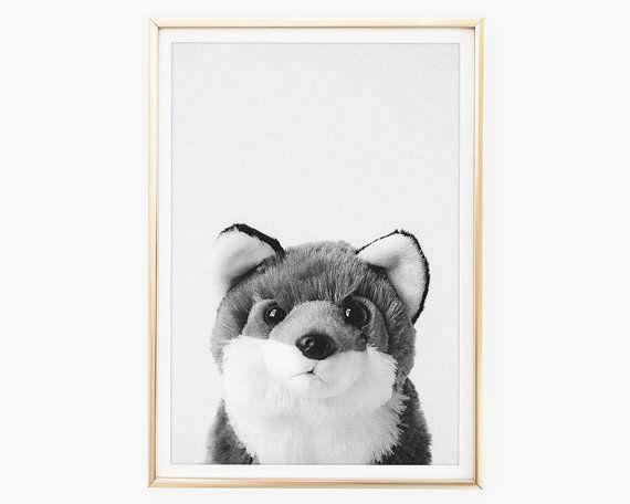 Fox Print Woodland Nursery Wall Decor Baby Animal Poster Etsy Animal Posters Fox Wall Art Fox Print