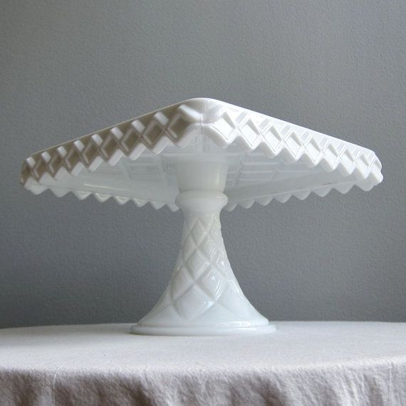 Vintage Milk Glass Square Cake Plate Or Stand On Pedestal Foot