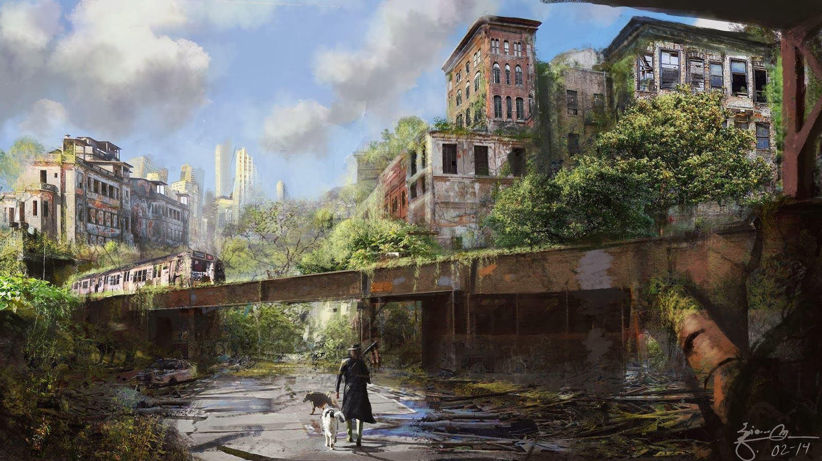 Abandoned City. Concept Art Post Apocalyptic Video Game