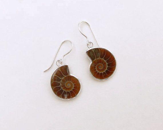 Ammonite earrings set in sterling silver by AlisonHiggins on Etsy