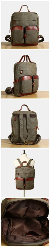 Flash Sale Waxed Canvas Backpack With Leather Vintage School Bag Rucksack 12029