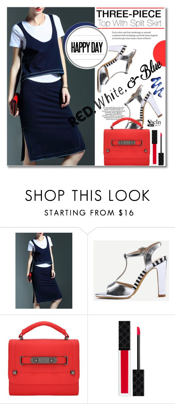 """""""Navy Three-piece Top With Split Skirt"""" by svijetlana ❤ liked on Polyvore featuring Gucci, redwhiteandblue, polyvoreeditorial and shein"""
