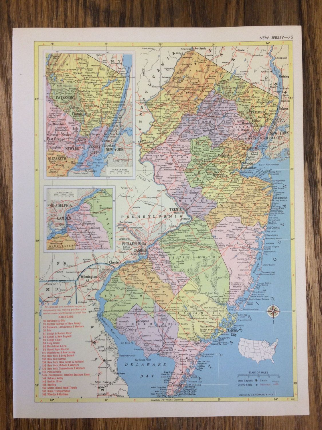 1955 new jersey or new mexico large map hammonds new supreme 1955 new jersey or new mexico large map hammonds new supreme world atlas vintage gumiabroncs Choice Image