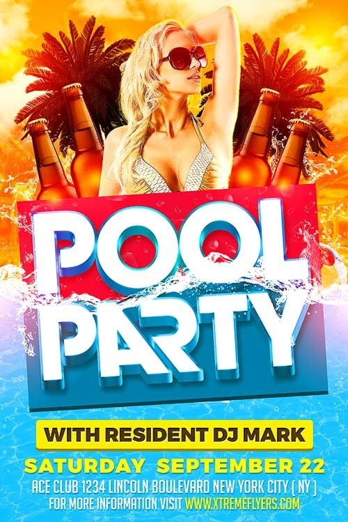 Summer Pool Party PSD Flyer Template - http\/\/xtremeflyers - pool party flyer template
