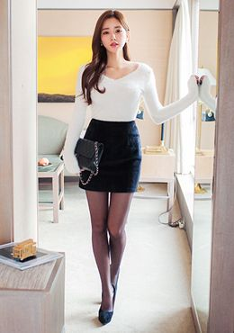 in skirt sexy wife Asian tight