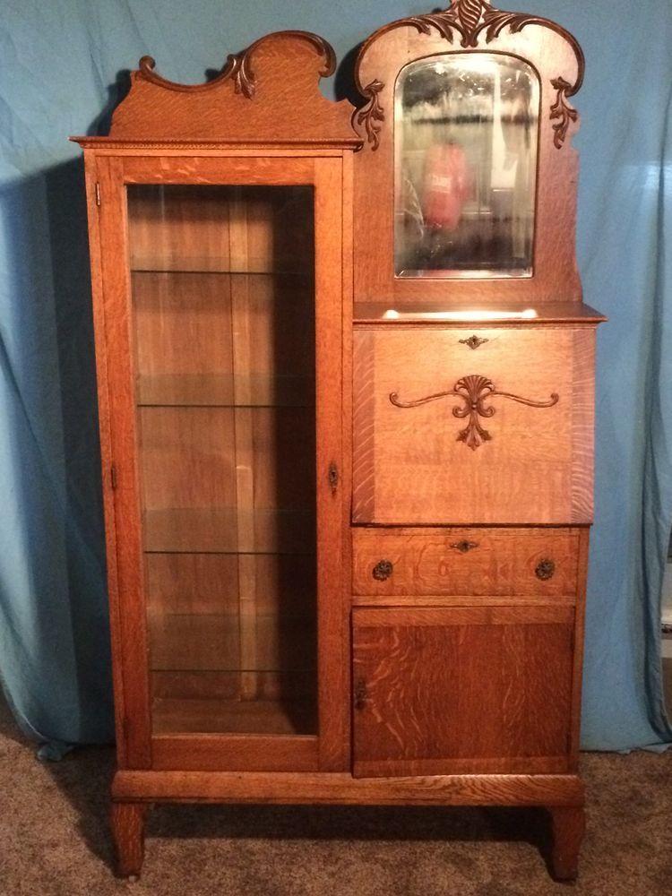 Antique Oak Glass Side By Side Secretary Desk Bookcase
