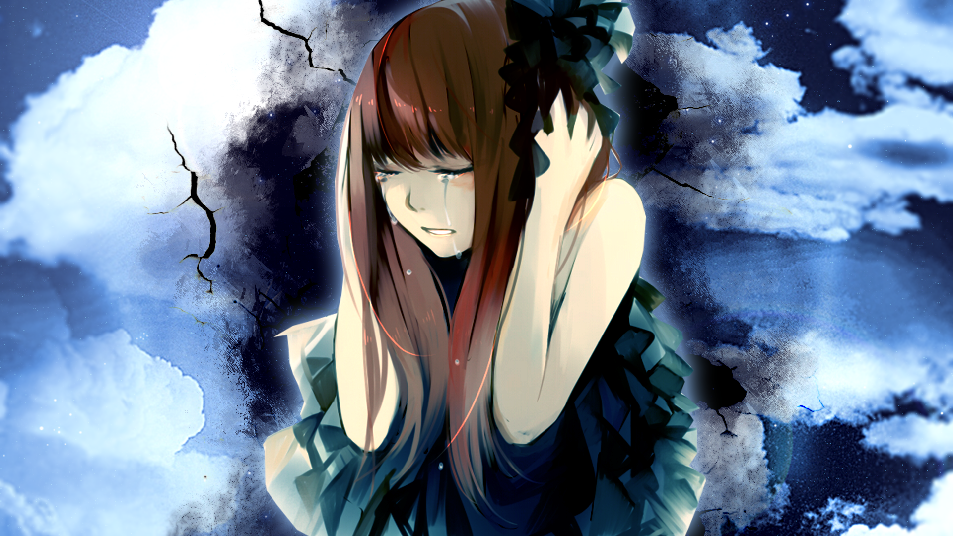 Anime Unknown Crying Girl Sky Blue Wallpaper Shout