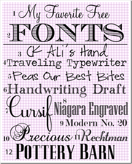 Free downloadable fonts - 12 total, with instructions on how to download & properly install onto your PC :-)