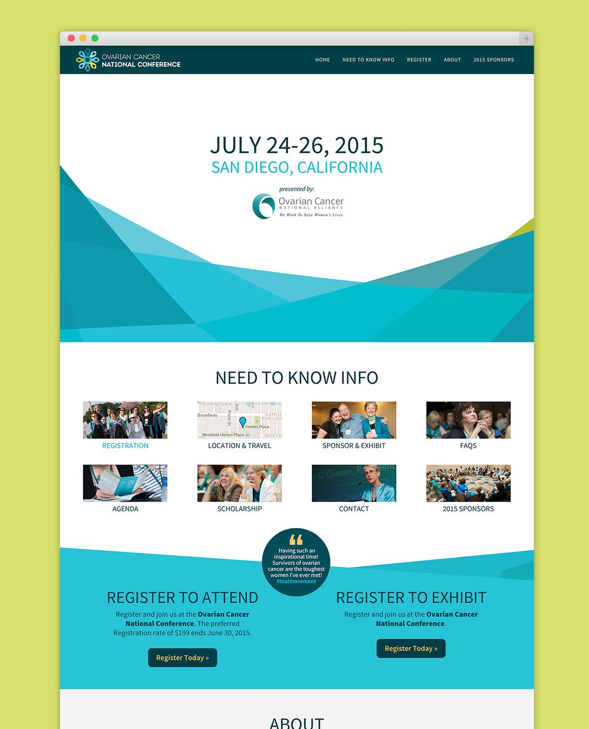 homepage design of Ovarian Cancer National Conference website ...