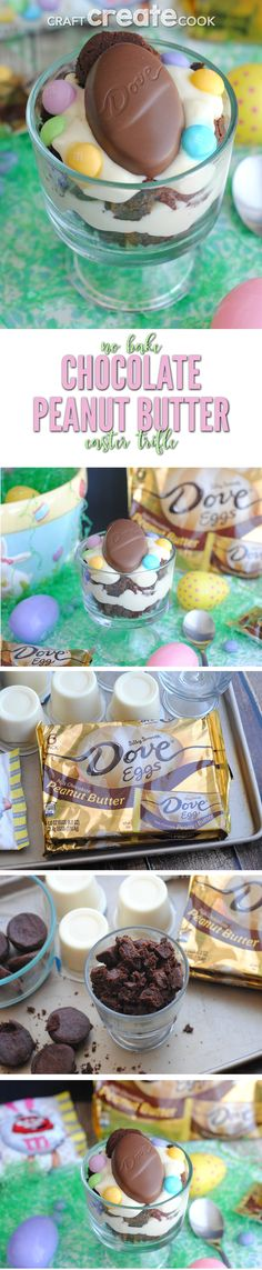 This chocolate peanut butter trifle recipe is perfect for Easter!  via /CraftCreatCook1/