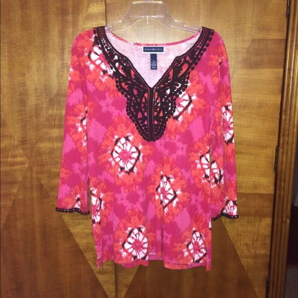 Pretty Bright 3/4 Sleeve Shirt with Embroiderey Worn once. Great condition. Cotton/poly. Very stretchy. Soft. Comfortable. Smoke free and pet free home. Karen Scott Tops