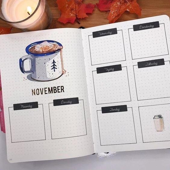 15 November Bullet Journal Cover And Layout Inspiration #novemberbulletjournalcover