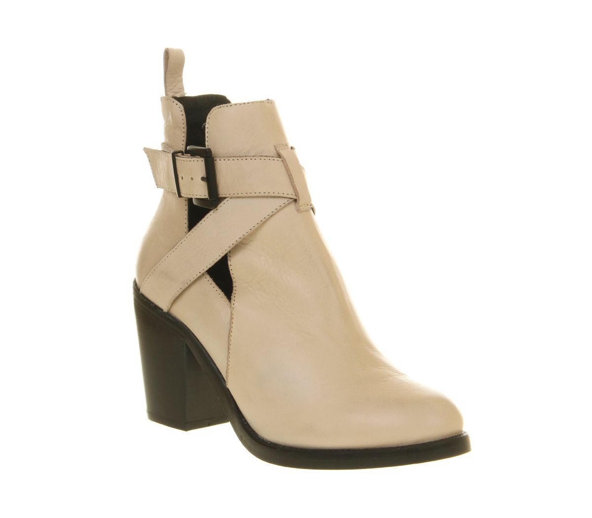 Womens Office Beloved Cut Out Boot Off White Leather Boots
