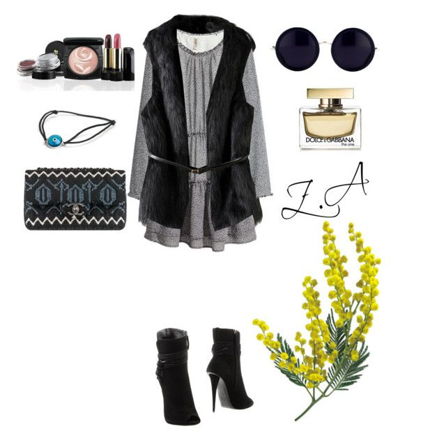 """""""Untitled #127"""" by zemaasg ❤ liked on Polyvore featuring H&M, Giuseppe Zanotti, Chanel, Lancôme, Linda Farrow, LeiVanKash and Dolce&Gabbana"""