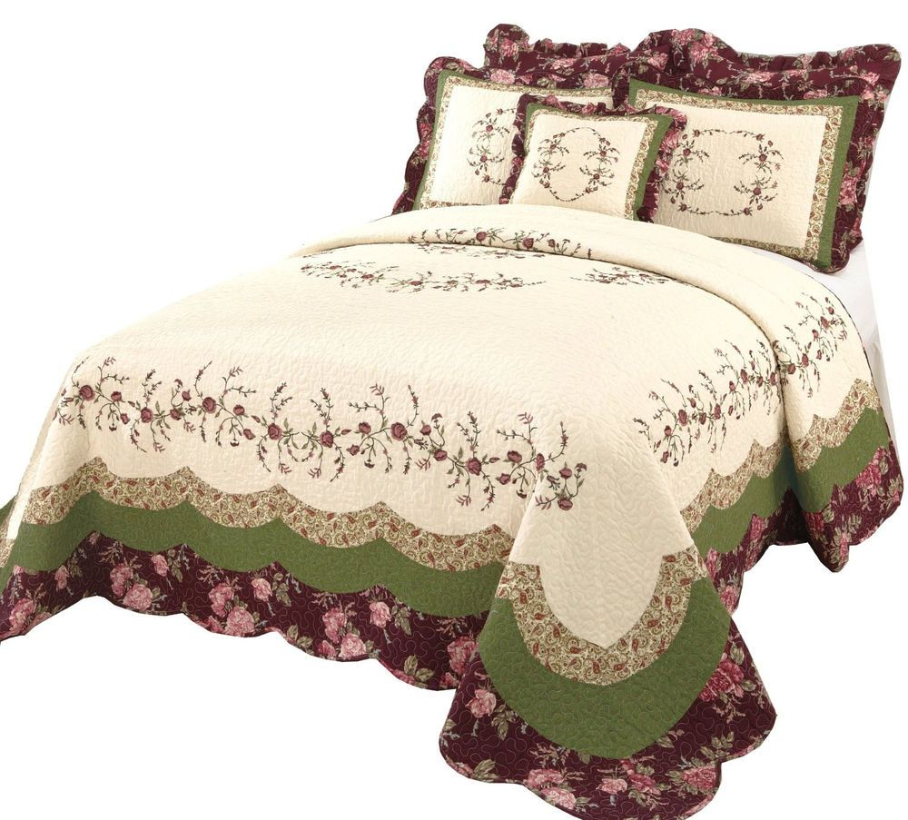 Ribbon embroidery bedspread designs - Details About Beautiful White Green Burgundy Cabin Floral Quilt Bedspread Xl Over Sized King