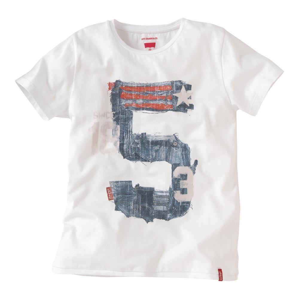 Levi's hvid t-shirt med 5-tal - ansos.dk - Økologisk børnetøj og babytøj samt økologisk tilbehør.