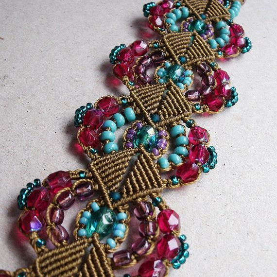 Micro macrame bracelet  Beaded Bronze Turquoise by MartaJewelry