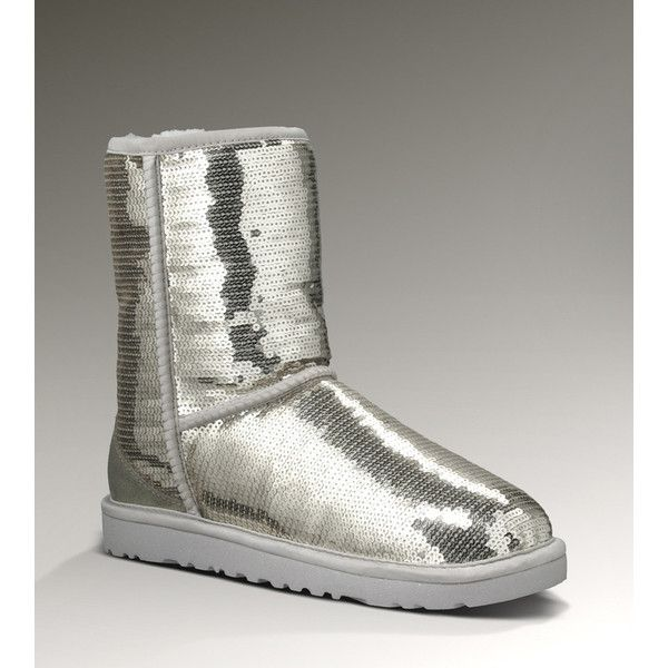 TOP A UK UGG Classic Short Sparkles 3161 Silver UGG3161-005 via Polyvore