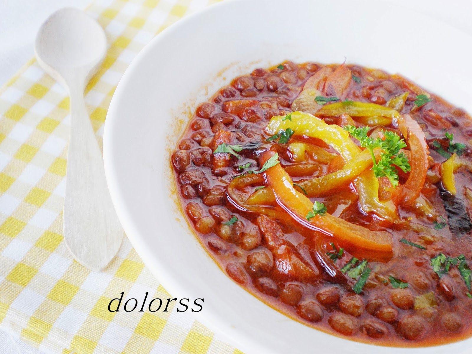 Blog de cuina de la dolorss: Lentejas rápidas con chorizo y pimientos