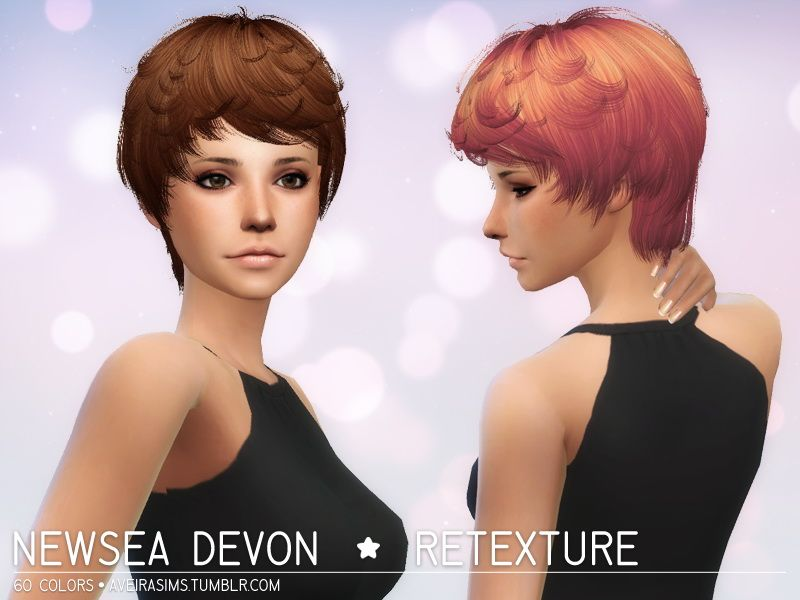 Hairstyles Updates: Aveira Sims 4: Newsea Devon Hair Retextured