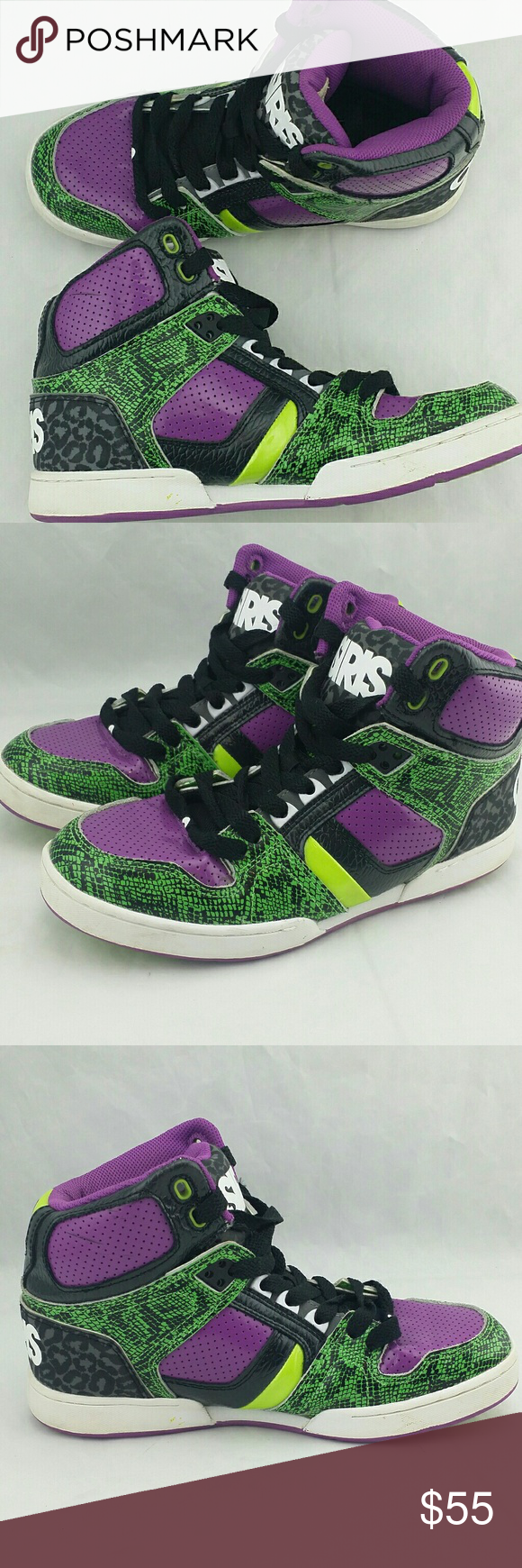 1a467c95cf84 Osiris Skateboard Shoes Joker Edition Green Purple Osiris Skateboard Shoes  Joker Edition Green Purple Women s size 5 Condition note  good condition