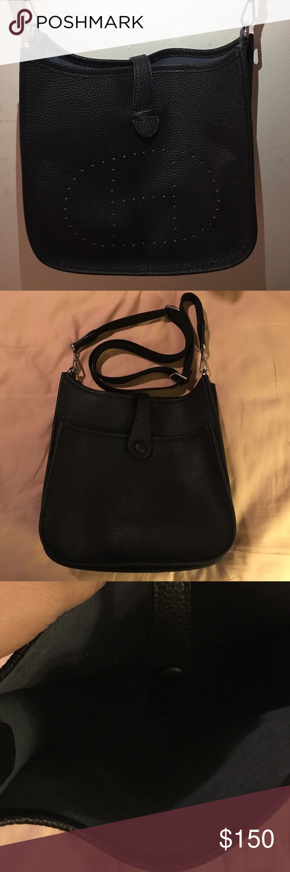"Beautiful H bag Beautiful H bag black leather crossbody 11""x9"" Bags Crossbody Bags"