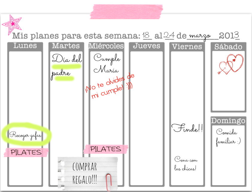 Weekly planner/Planificador semanal | Imprimibles | Pinterest ...
