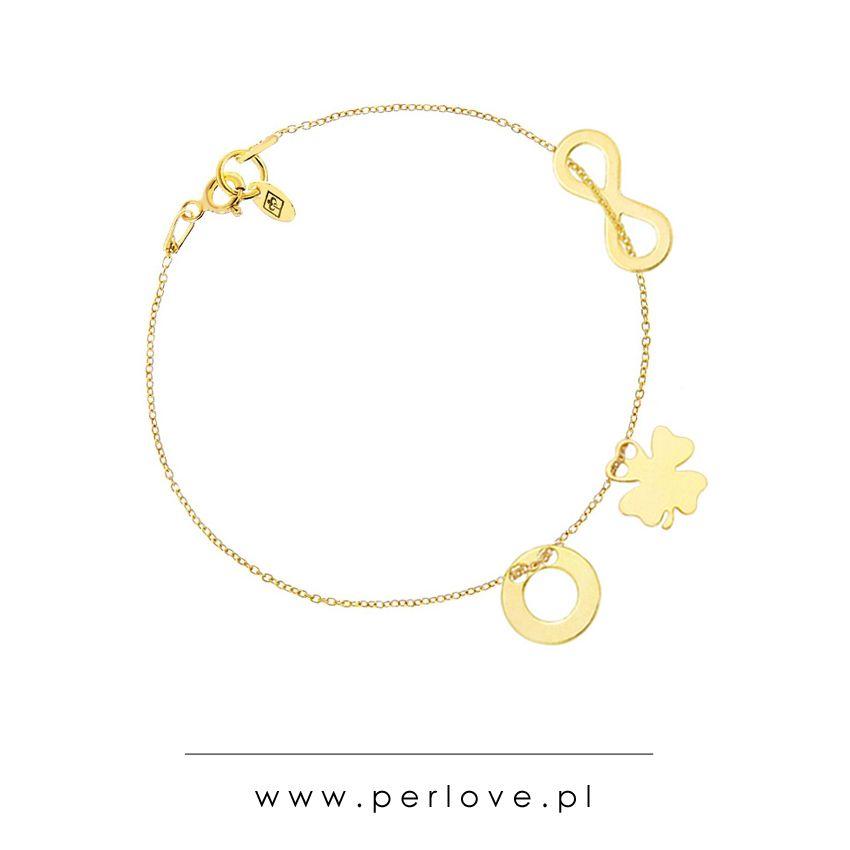 bfee79aeb31c6c Złota bransoletka celebrytka gwiazd z zawieszkami: nieskończoność,  koniczynka, karma / Golden bracelet with charms: infinity, clover and karma