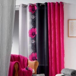 Rideau 140 x h240 cm maeva fuchsia deco chambre for Rideau voilage fushia