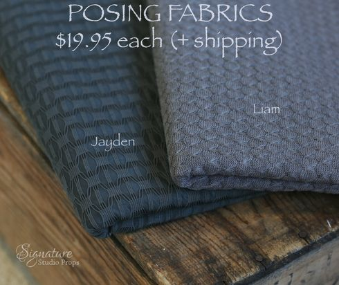 "Our Slate Posing Fabrics have those blue and gray that make them so versatile.  Each fabric is a full two-yard piece, and measures at least 56"" wide."