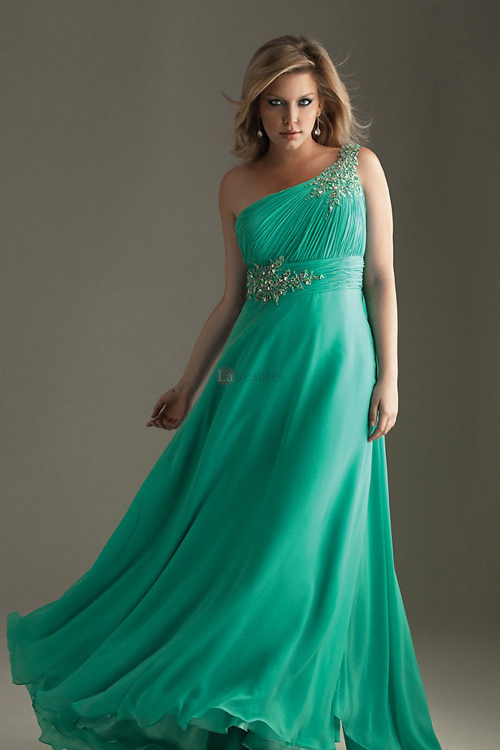 2013 Prom Dresses Plus Size Prom Dresses Green A Line One Shoulder ...